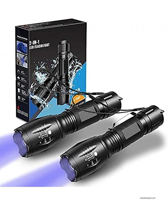 UV Flashlight Black Light 2 in 1 2 Pcs,UV Light LED Black Light flashlights with 500LM Highlight&4 Mode&Waterproof IPX 4 for Pet Clothing Food Fungus Detection Night Fishing Travel Camping