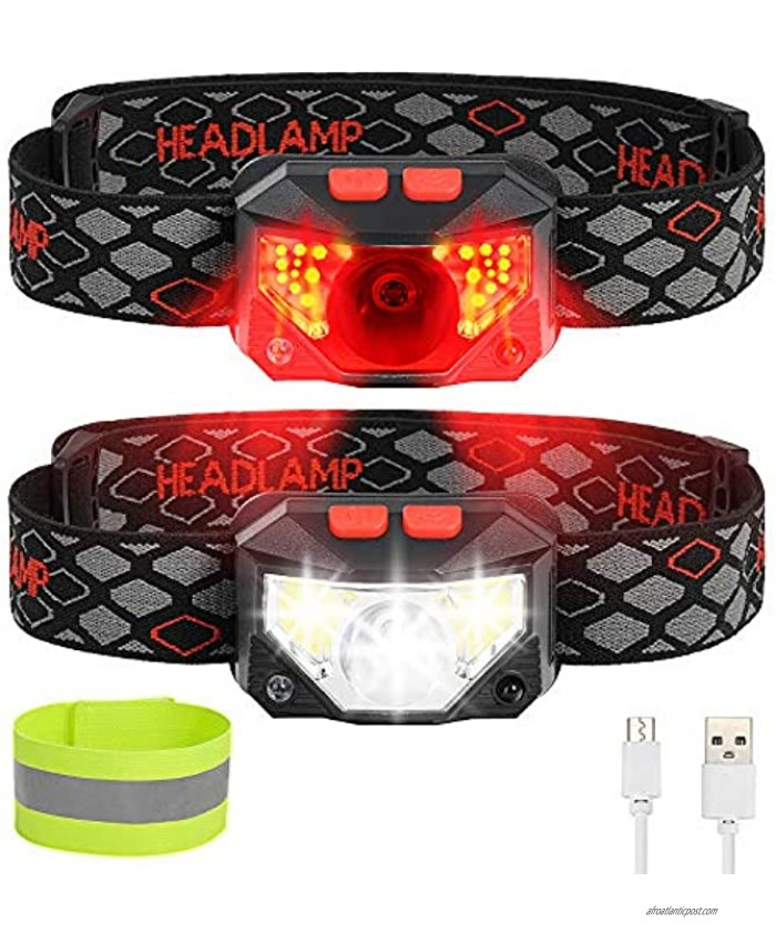 LED Headlamp Flashlight 1000 Lumens Bright Rechargeable Headlamp 8 Modes Waterproof Headlight with Red Safety Outdoor Headlight- Adults KidsUsed for Cycling Camping Running Outdoor Fishing 2 Packs