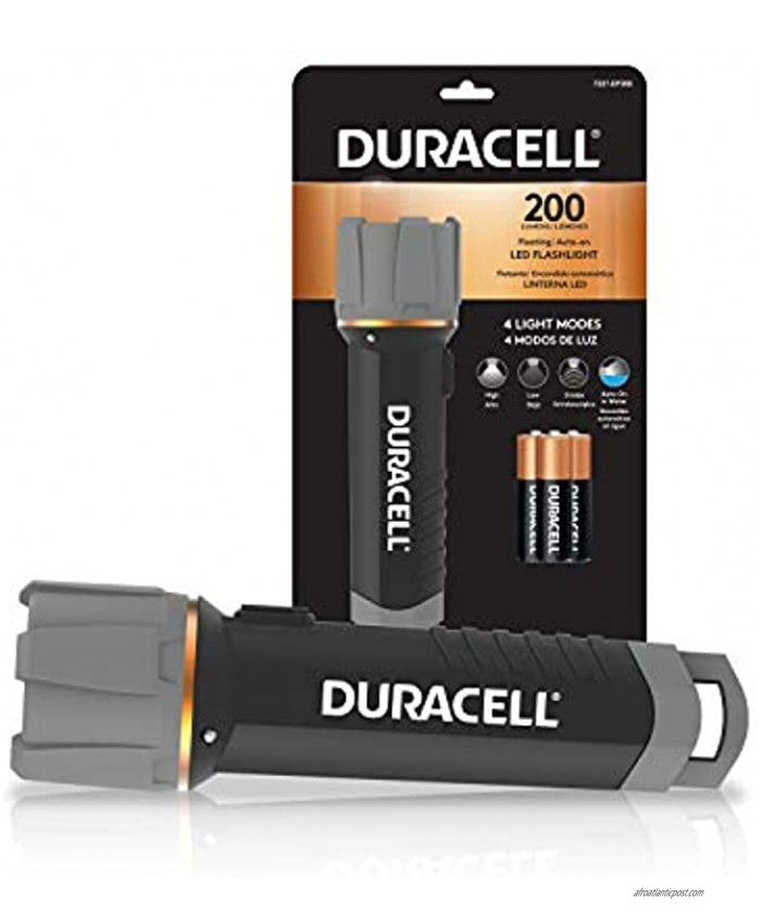 Duracell 200 Lumen Floating LED Flashlight for Camping Fishing & Emergency Use Water Resistant Design with 4 Modes and 3-AA Batteries Included. Great for In-Door & Out-Door Use