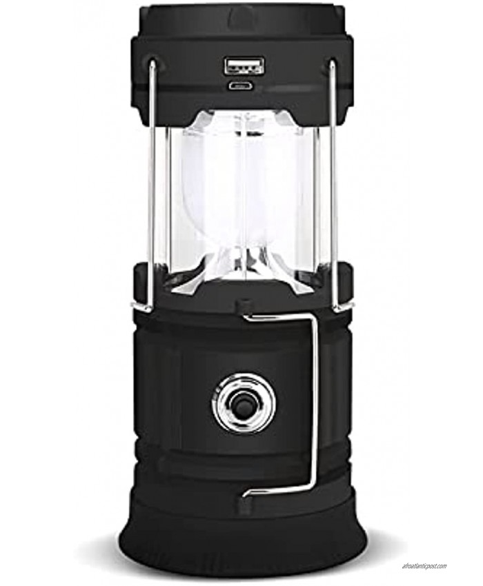 Solar Camping Lantern Outdoor Lantern Flashlights with Input Output Port USB Rechargeable Solar Powered for Hiking Reading Hurricane Outage Emergency Earthquake