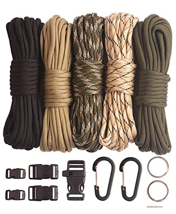 GeGeDa Paracord,Paracord 550 Combo Crafting Kits with 5 Types Buckles,20 Feet Each Paracord Rope