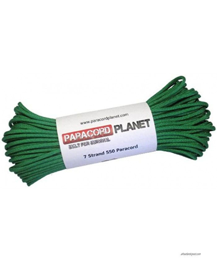 Paracord Planet 550 lb 100 Foot Hank Kelly Green Parachute Cord. Also known as paracord rope parachute rope utility cord tactical cord & military cord. USA made to provide durability & strength.