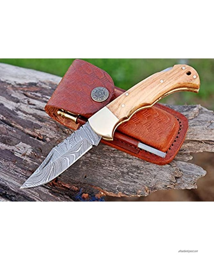Handmade Damascus Steel Pocket Knife & Knife Sharpener Damascus Folding Knife Pocket Knife for Men EDC Knife & Hunting Knife with Back Lock Olive Wood Brass Liners & Pins Handle with Leather Knife Sheath