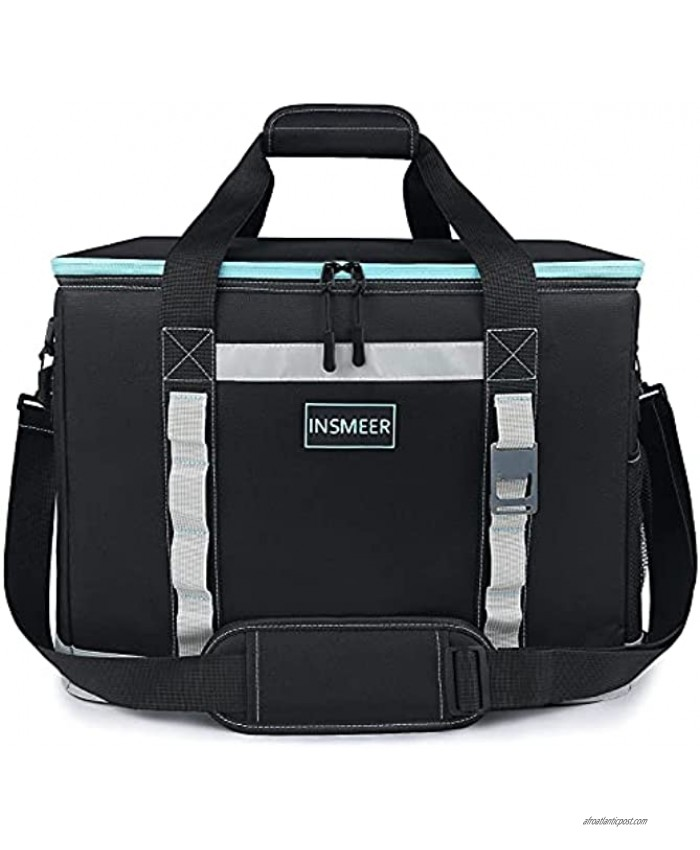 [2021 NEW] INSMEER Large Cooler Bag 65 Can Camping Cooler Leakproof Insulated Collapsible Easy Clean,with Bottle Opener&Removable Shoulder Strap Suitable for Beach Picnic Grocery Shopping Camping 48L
