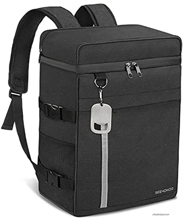 Insulated Cooler Backpack Leak-Proof Waterproof Large Capacity Backpack Cooler 45 Can Cooler Bag Lightweight Soft Beach Cooler for Men Women to Work Picnic Hiking Camping Black