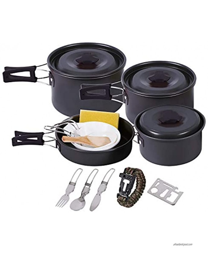 RedSwing Camping Cookware Set for Family 12 Pcs 23 Pcs Compact and Folding Backpacking Cookset Anodized Aluminum Lightweight Camping Pots and Pans Set