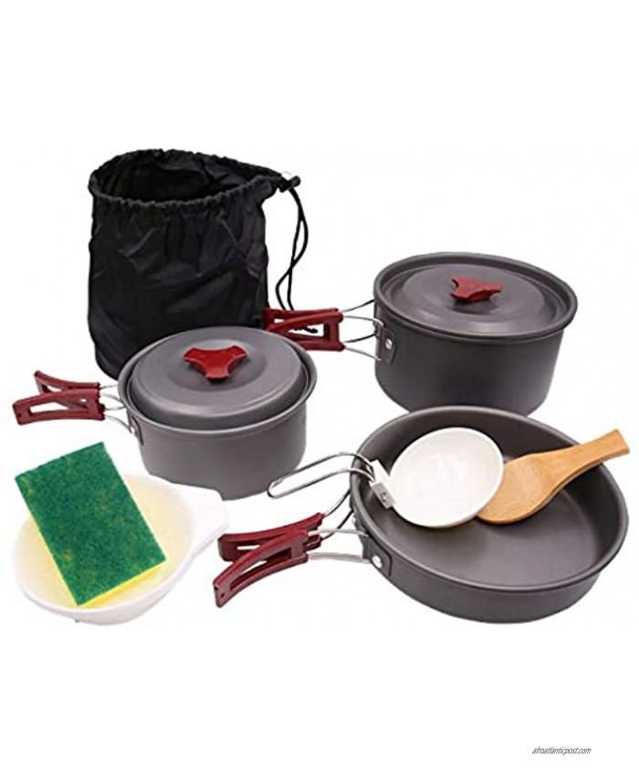 SurviveDis AL-300 Camping Cookware Mess Kit Backpacking Hiking Outdoors Bug Out Bag Gear Cooking Equipment 11 Piece Set: Lightweight Compact Durable Pot Pan Bowls