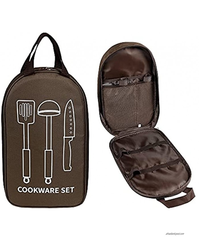 AWISBI Camping Travel Cooking Utensils Organizer Portable Travel Bag Pouch for Beach Park or Picnic Hiking BBQs Camping Outdoor Cooking Indoor or Outdoor Blown