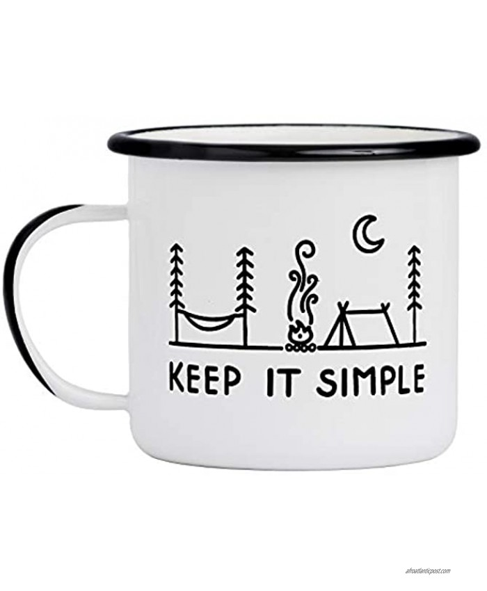 Camp Noggin | Keep It Simple | Enamel Camping Coffee Mug 15 Ounces | Large Size | Perfect for Coffee Tea Beer Wine Oatmeal or Soup