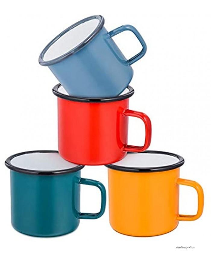 Coffee Mug E-far 12 Ounce Enamel Coffee Tea Camping Cup Mugs Red Yellow Blue Green Healthy & Bright Colors Set of 4