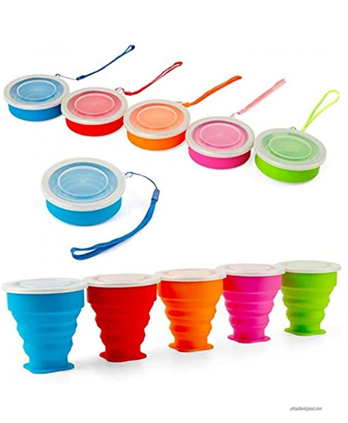 Shebaking Set of 5 Collapsible Cup Silicone Folding Travel Cup Portable Camping Cup with Lids for Outdoor Hiking Sports and Coffee