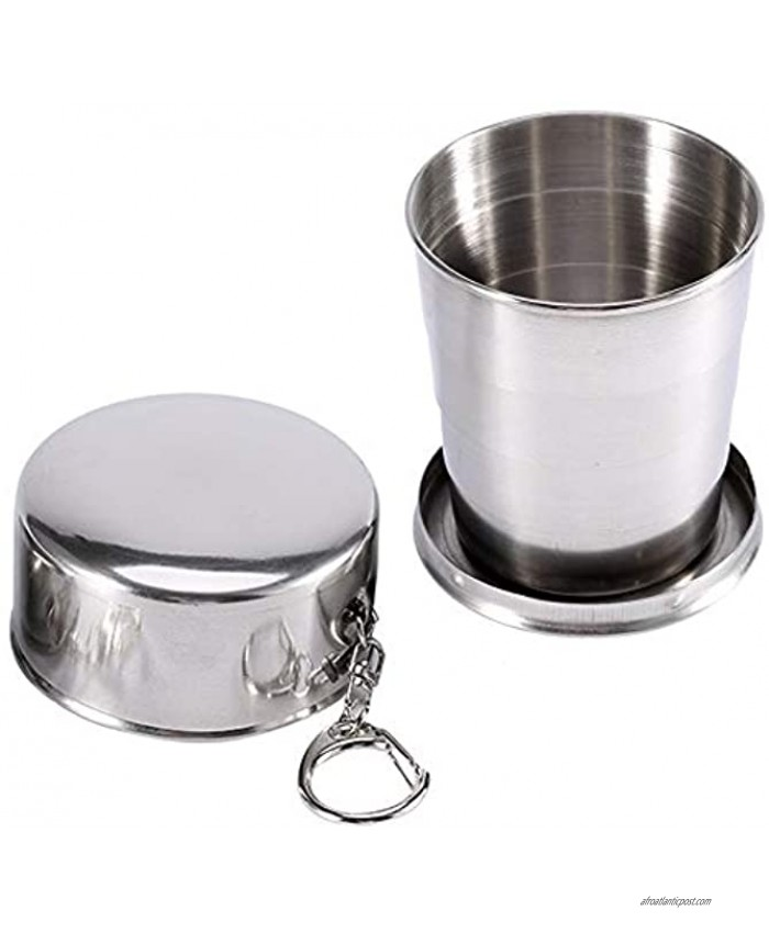 Stainless Steel Folding Cup Camping Mug Collapsible Drink Glass Tumbler with Lids Keychain for Outdoor Travel Camping Hiking Fishing Mountaineering,Retractable Telescopic Portable Size : L