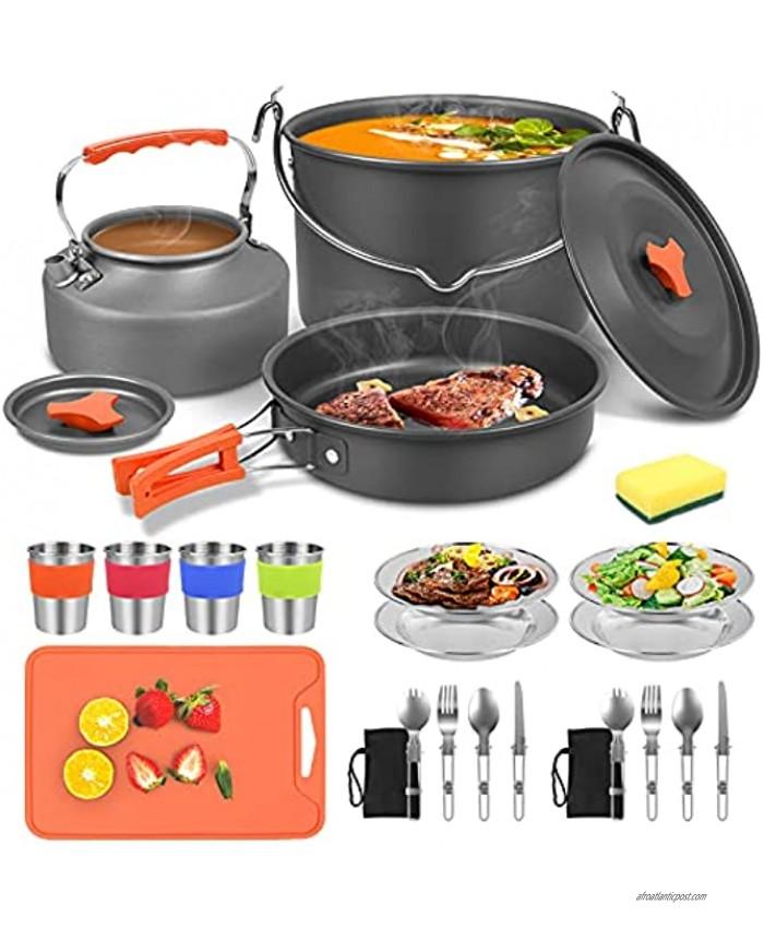 Camping pots and Pans Set 31 pcs Camping cookware Camping Cooking Cookware Mess Kit for 2-4 nonstick Camping cookware Set Mini cookware Camping Backpacking Pans Set Camping&Hiking Cooking