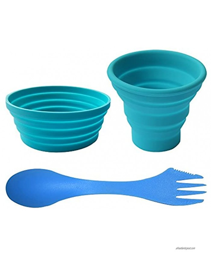 Ecoart Silicone Collapsible Bowl Cup Set with Spork for Outdoor Camping Hiking Travel Set of 3
