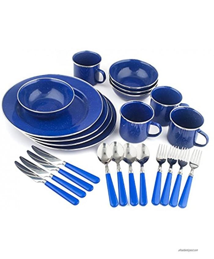 STANSPORT Deluxe 24-Piece Enamel Tableware Set: Plates Bowls Mugs & Utensils