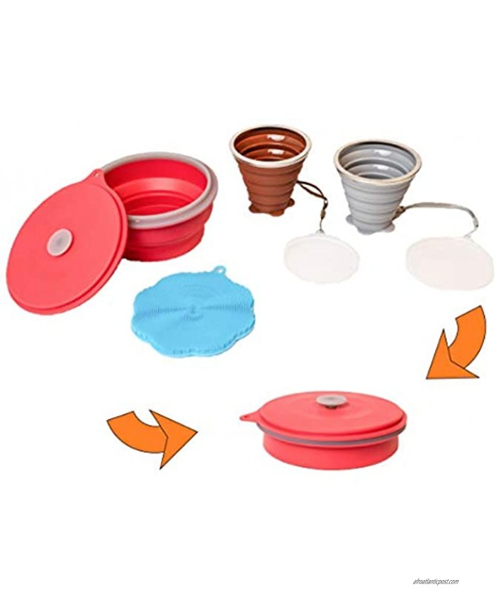 Tentmaker The Happy Camper Collapsible Camping Set 2 Silicone Cups with lids Bowl and Sponge That Collapse into one