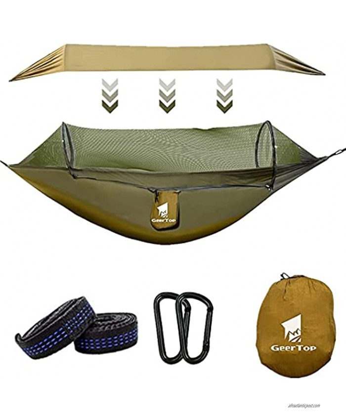 GEERTOP Camping Hammock with Net Portable 1 2 Person Pop Up Lightweight Hammocks with Tree Straps Carabiners for Outdoor Backpacking Backyard HikingGreen