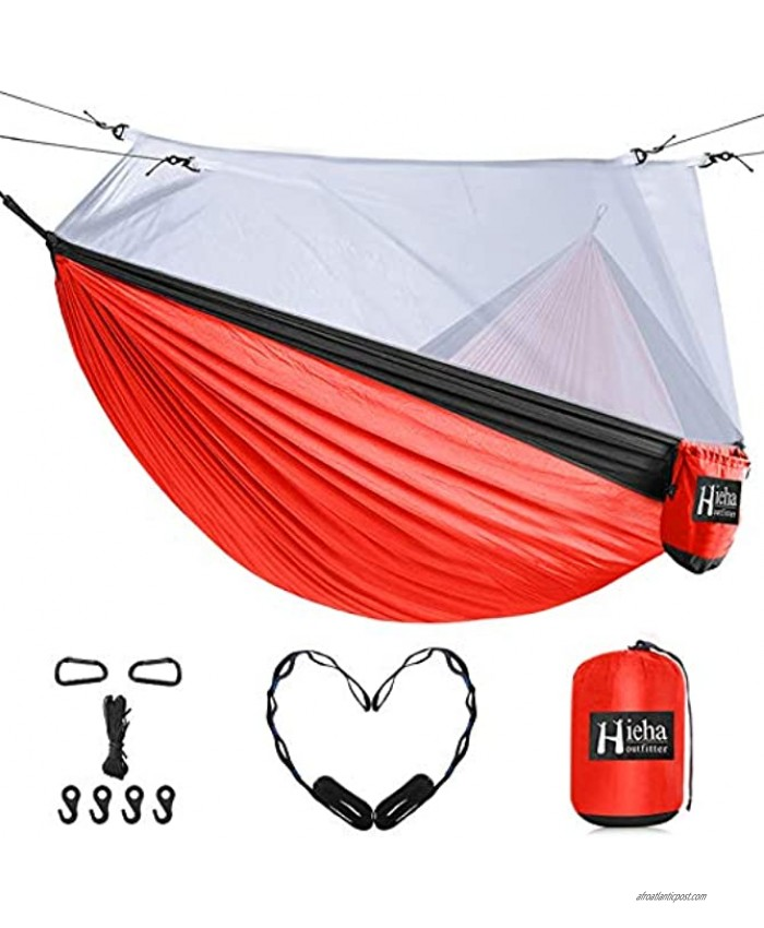 Hieha Double Camping Hammock with Mosquito Net Portable Nylon Hiking Hammocks for Trees Travel Outdoor Gear Camping Essential Hammock for 2 Adults