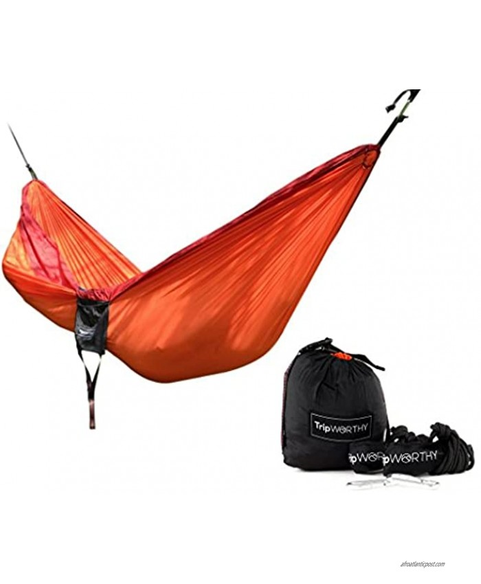 Premium Outdoor Hammock for Hiking Camping Backpacking & More! Free Hanging Straps Parachute Nylon Fabric Compact & Lightweight Set Bag Carabiners Rope and Tree Straps Included!