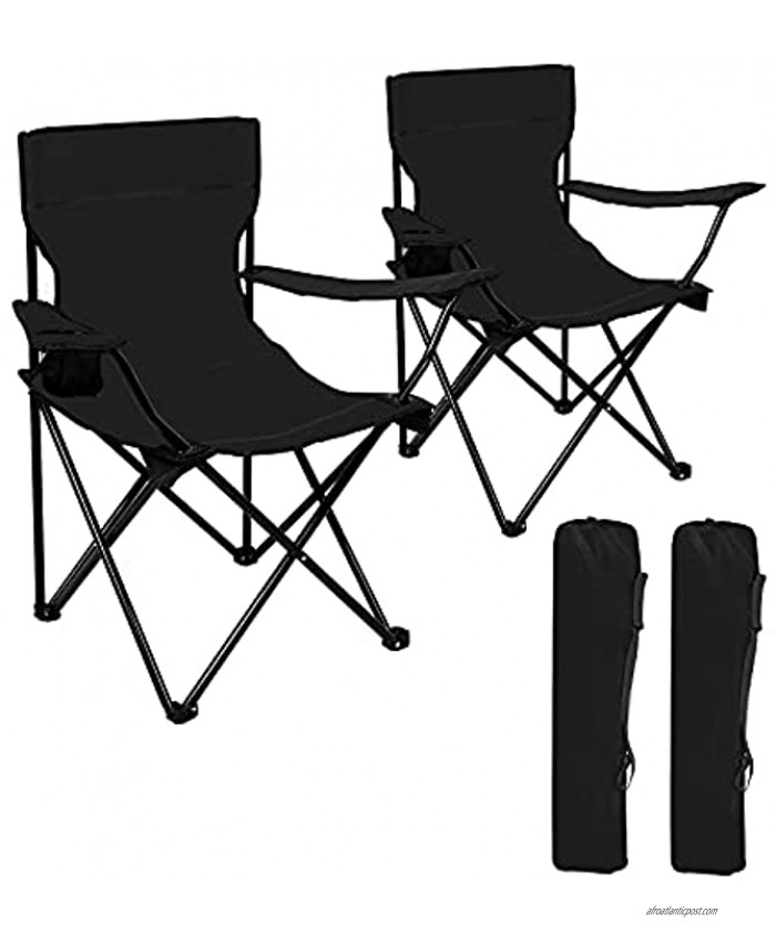 Cambyso 2Packs Lawn Chairs Portable Chair with Strap Bag Beach Chairs Folding Lightweight Sturdy Camping Chairs Beach Chairs with Beverage HolderBlack
