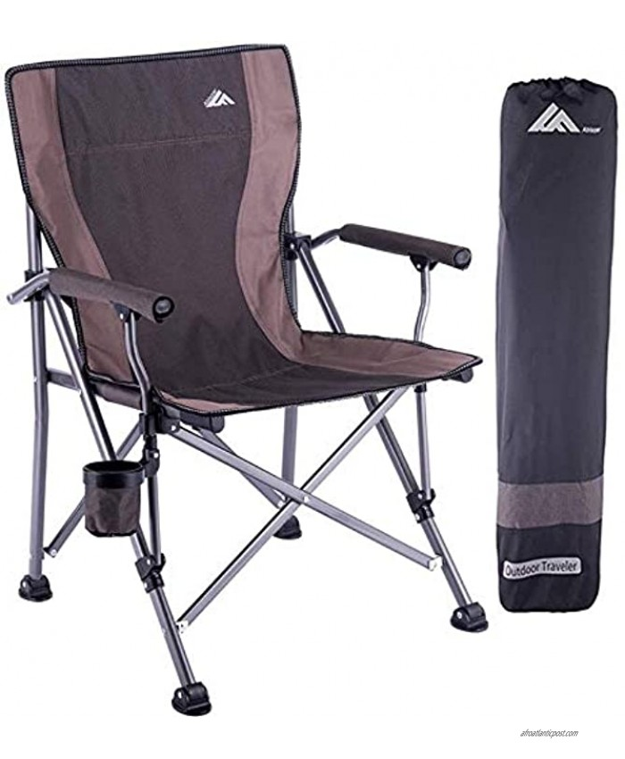 Folding Camping Chair Portable Camp Chair for Adults,Supports 300 lbs Oversized Heavy Duty Folding Camping Chair With Cup-Holder,Lightweight Lawn Chair for Outdoor,Travel,Picnic,Hiking,Straight Back