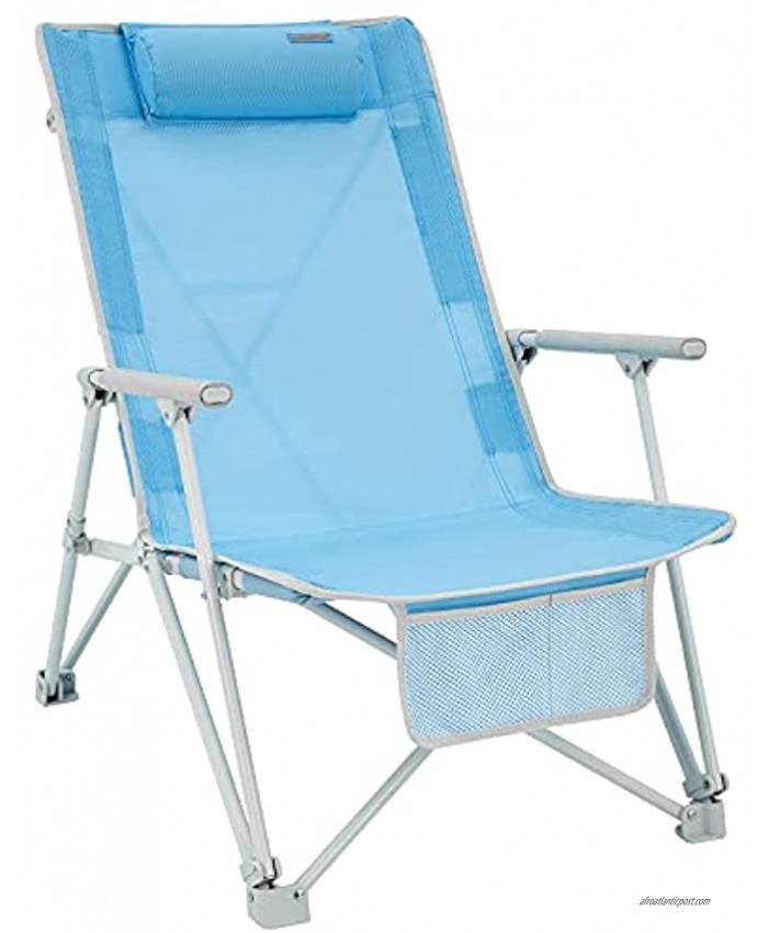 #WEJOY High Back Folding Beach Chair,Portable Lightweight Camping Lawn Chairs for Adults with Hard Arm,Headrest,Pocket for Outdoor Camp Festival Sand Concert Travel Picnic BBQ Sport Events 265 LBS