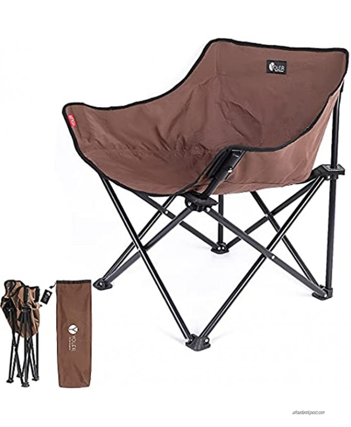YOLER Folding Camping Chair Compact Beach Chairs for Adults with Carry Bag Outdoor Furniture for Camping Picnic Backpacking Hiking Brown