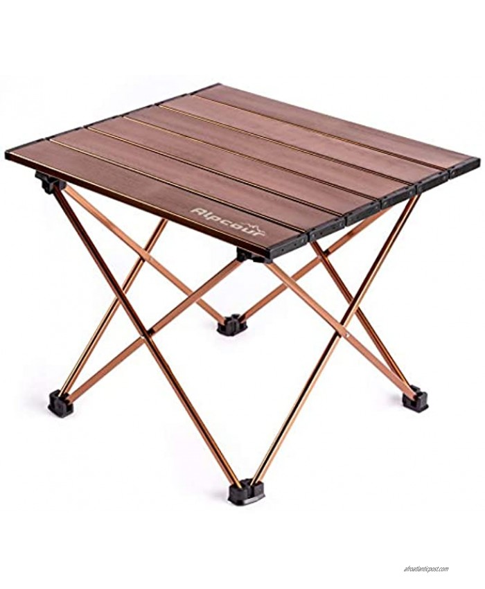 Alpcour Portable Camping Table – Lightweight Compact Folding Side Table in a Bag with Aluminum Top & Heavy Duty Hinge for Easy Travel & Storage – Great for Outdoor BBQ Backpacking Tailgate & More