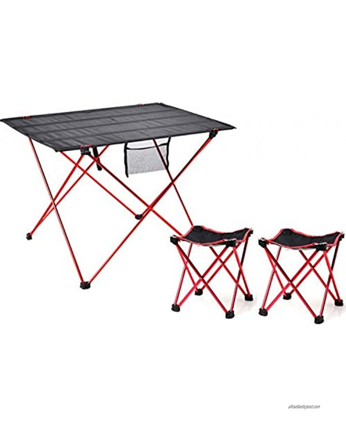 HOORU Camping Table Set 3Pcs Picnic Folding Desk Stools with Carry Bag Lightweight Backpack Table and Chair Set for Camping Hiking Fishing