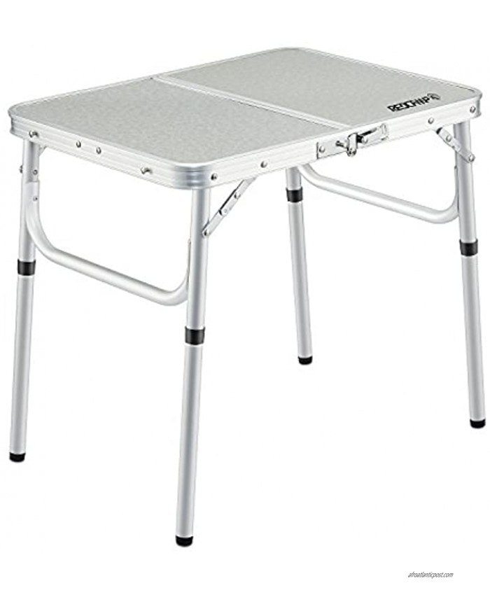 REDCAMP Small Folding Table 2 Foot Adjustable Height Lightweight Portable Aluminum Camping Table for Picnic Beach Outdoor Indoor White 24 x 16 inch