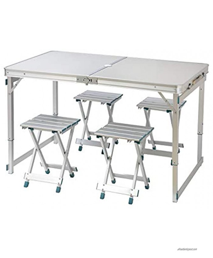 Trademark Innovations 4 Person Aluminum Lightweight Folding Camp Table with 4 Folding Stools