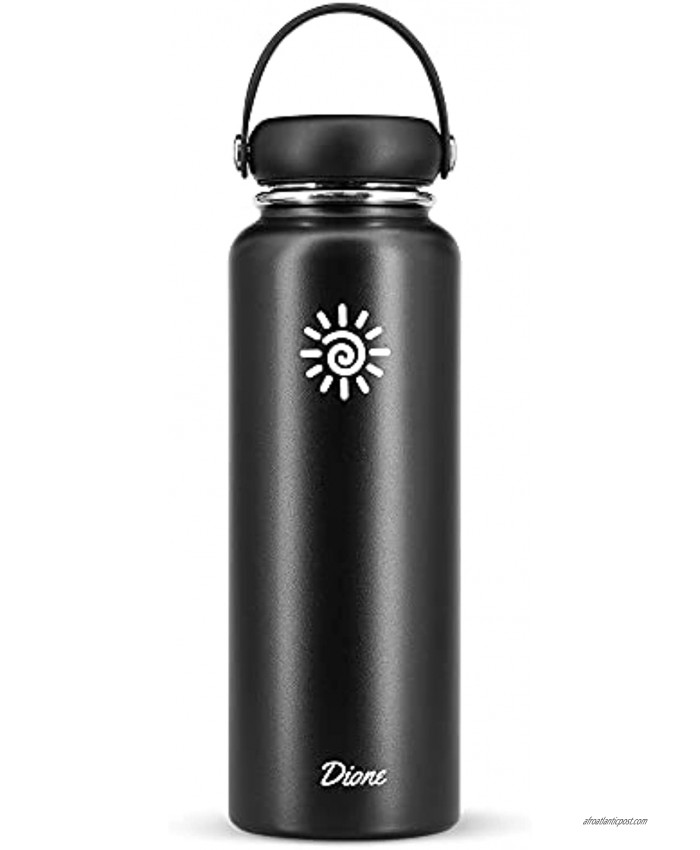 Dione Water Bottle 40 oz. Flask Double Wall Stainless Steel & Vacuum Insulated Black Sport Hydro Container for Home Office School Outdoor Camping Standard Mouth Leak Proof BPA Free Cap