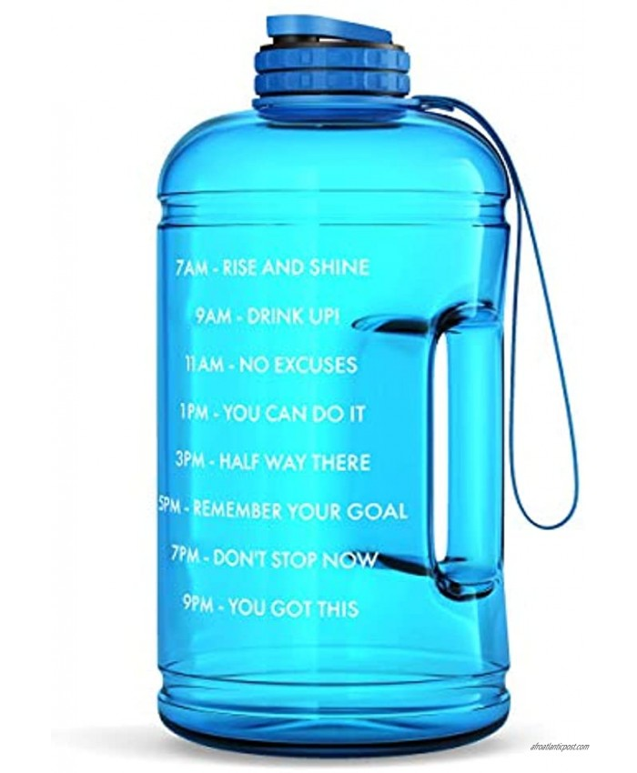 Motivational Water Bottle with Time Marker & Hourly Hydration Measurements – BPA Free & Non Toxic Large Sports Fitness Bottle Jug with Wide Mouth – Ensure You Drink Enough Water Blue