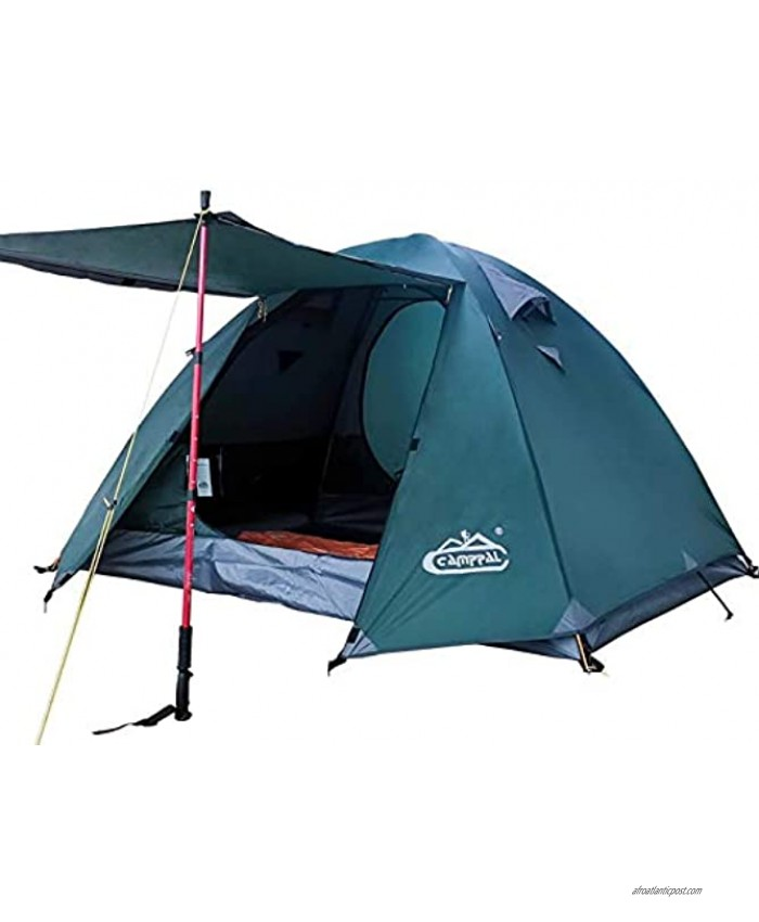 camppal 3 4 Person Tent for Camping Hiking Mountain Backpacking Tents 4 Season Resistance to Windproof Rainproof and Waterproof 3-4 Person Green