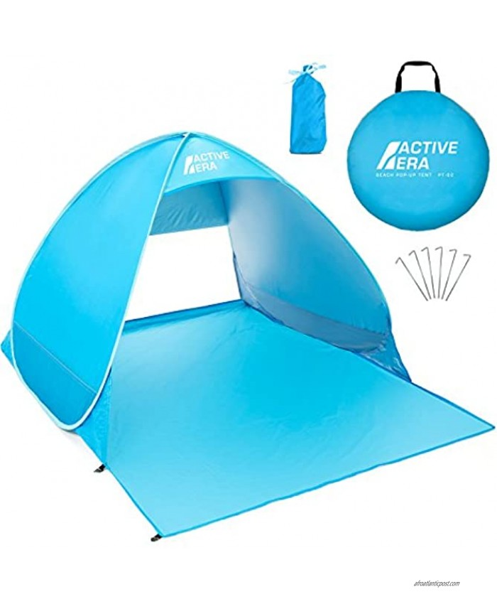 Active Era Pop Up Beach Tent – UPF 50+ UV Sun Protection Beach Shade Beach Tent Pop Up for Kids & Adults 2 Person Sun Shelter with Carry Bag and Tent Stakes for Beach Park Camping
