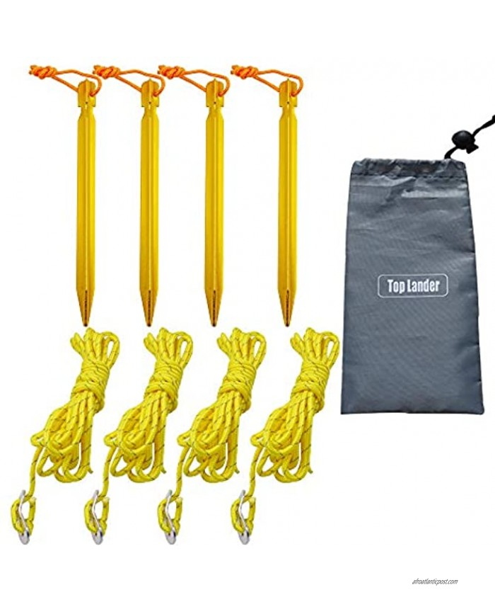 Top Lander Aluminum Tent Stakes Peg and 8 Reflective Guylines with Cord Adjuster A Good Travel Accessory Kit for Camping Hiking and Other Outdoor Recreation