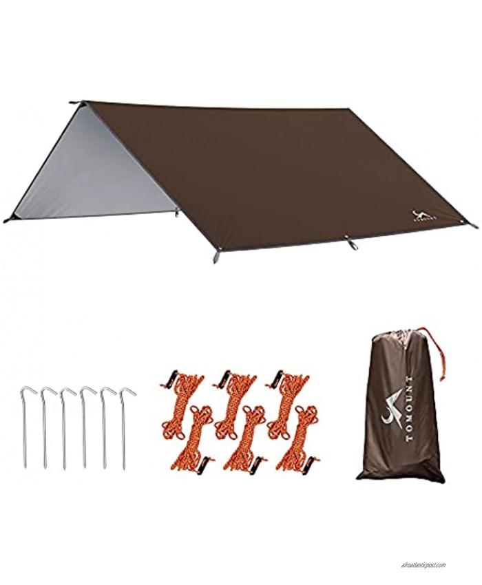 MC Camping Tarp Hammock Rain Fly Tarp 13x9.5FT 9.8x9.5FT Waterproof Tent Footprint for Camping Hiking Hammock Shelter Lightweight and Compact