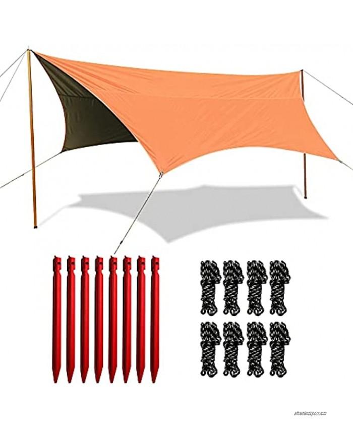 YGY Waterproof Camping Tarp Hammock Rain Fly ,Tent Tarp 10.5ft x 9.2ft UV Protection and PU 3000mm for Camp Hiking Backpacking Cycling Picnic Mat Survival Shelter Sunshade Orange 10 X 9