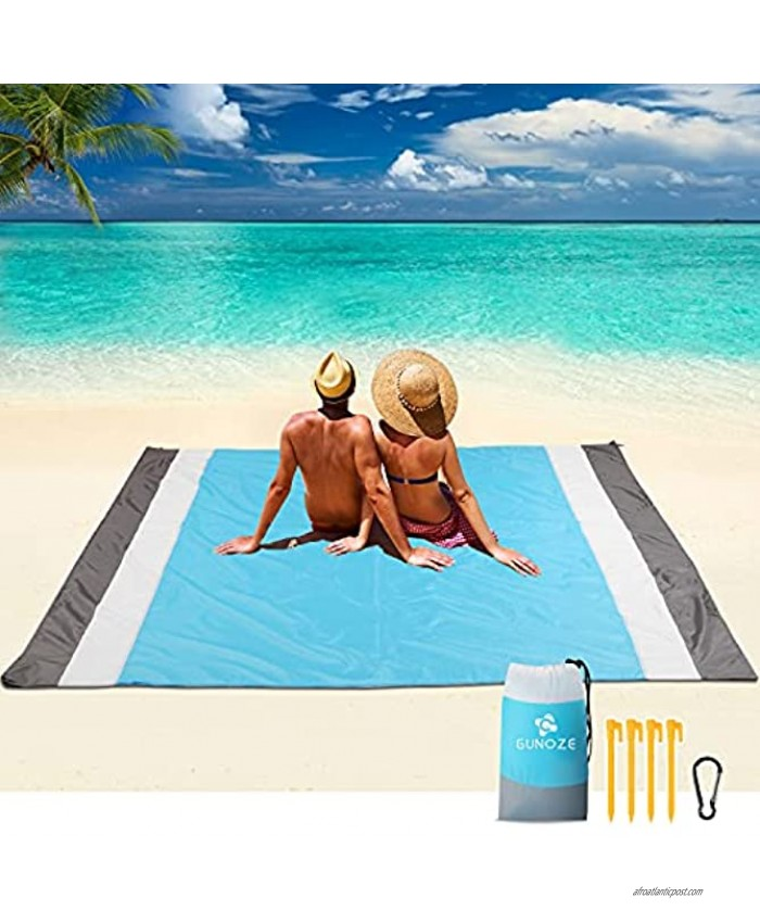 Gunoze Beach Blanket 79x89 Large Size Lightweight Beach Mat for 5-7 Adults Waterproof and Sandproof Outdoor Beach Blanket with 4 Anchors Stakes and sandbag Perfect for Travel Camping Beach