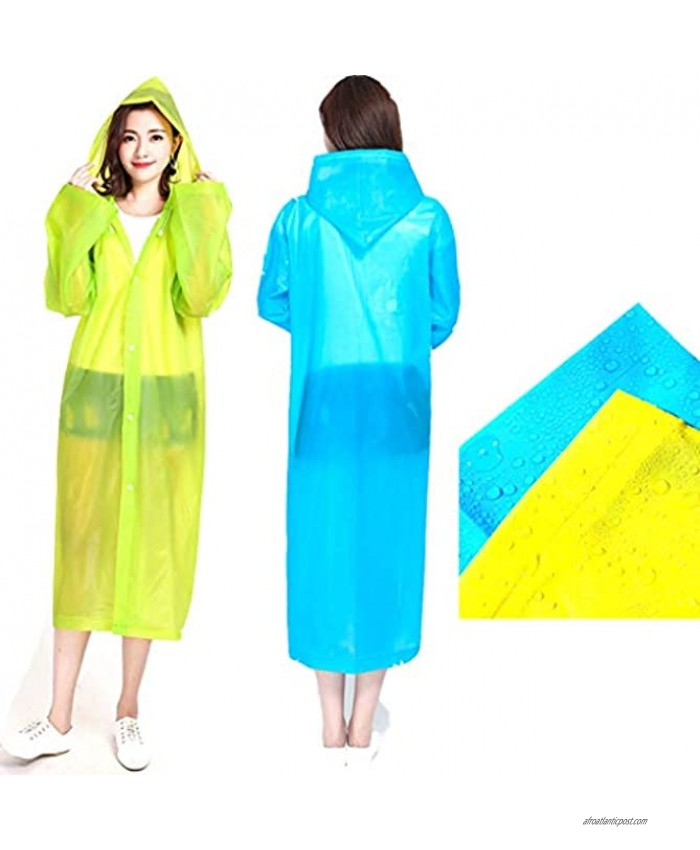 2 emergency reusable raincoats with covers and buttons are suitable for all outdoor activities