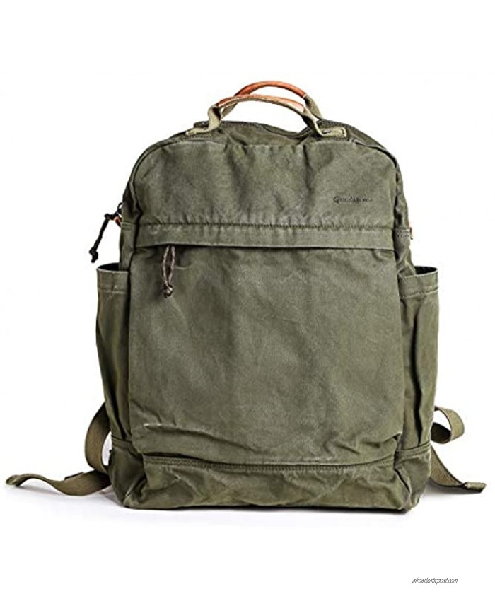 Gootium Canvas Backpack for Women Vintage Style Outdoor Travel Bag Men's Casual Daypack Cloth Zippered Rucksack