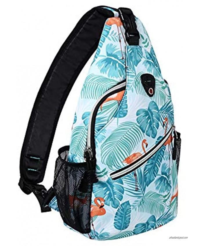 MOSISO Sling Backpack,Travel Hiking Daypack Pattern Rope Crossbody Shoulder Bag Flamingo