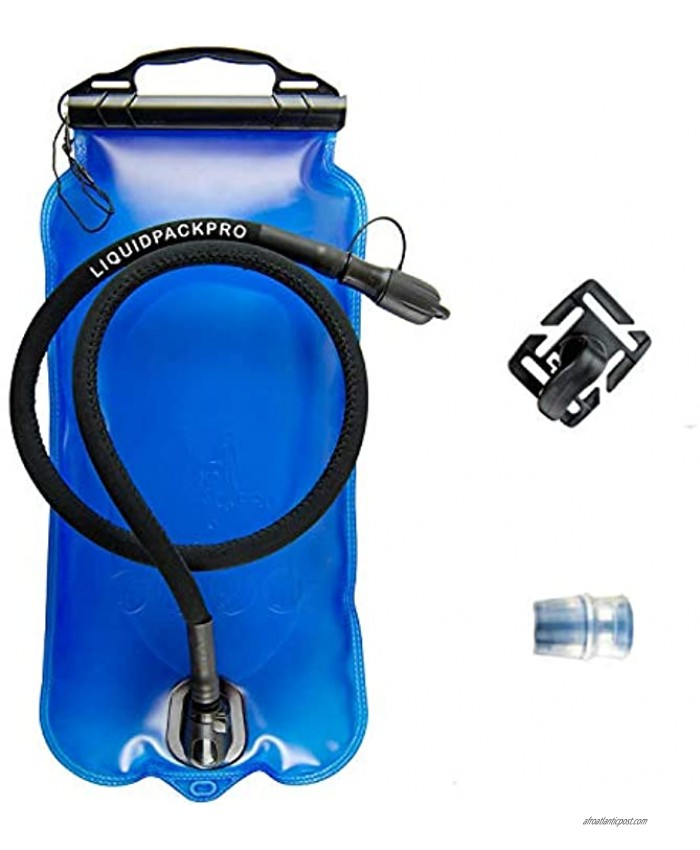 LIQUIDPACKPRO Hydration Bladder 1.5 Liter 50 OZ Hiking Running Biking Water Bladder Set for Hydration Backpack Water Reservoir Kit Insulated Hose Spare Bite Valve and Rotatable Clip