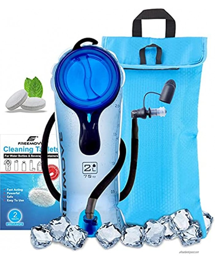 FREEMOVE Hydration Bladder and Cooler Bag 2L or 3L> Keeps Drink Cool and Protects Bladder < Leak Proof Water Reservoir Tasteless & BPA Free Premium TPU Material Quick Release Tube & Shutoff Valve