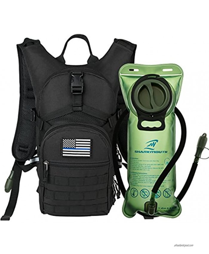 SHARKMOUTH Tactical MOLLE Hydration Pack Backpack 900D with 2L Leak-Proof Water Bladder Keep Liquids Cool for Up to 4 Hours Daypack for Hiking Cycling Running Hunting USA Flag Patch