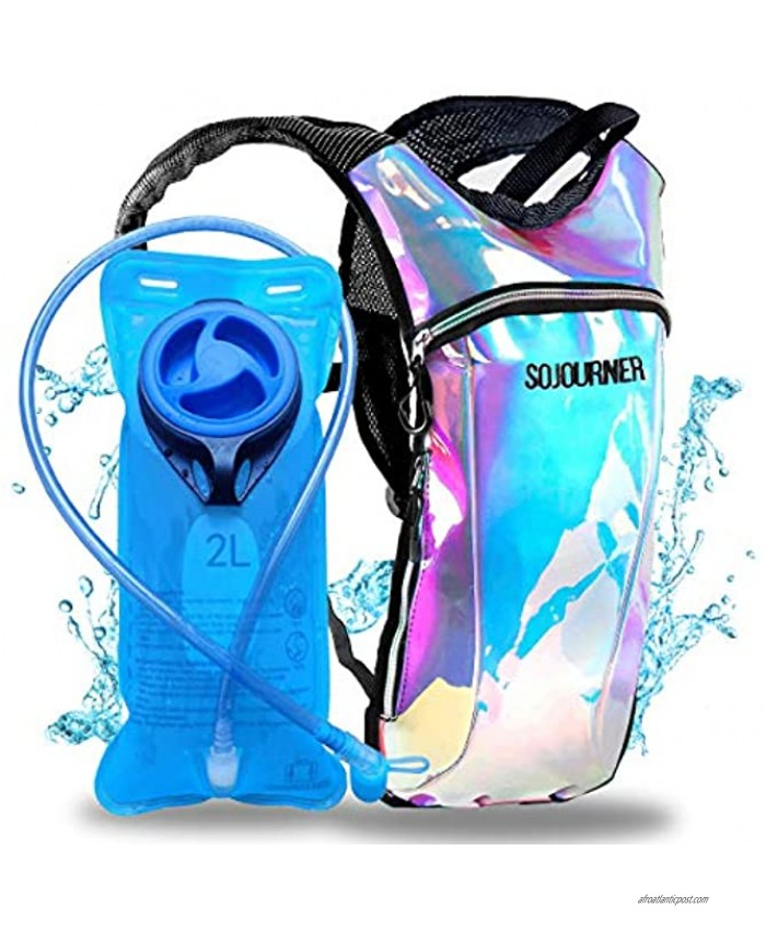 Sojourner Hydration Pack Backpack 2L Water Bladder Included for Festivals Raves Hiking Biking Climbing Running and More